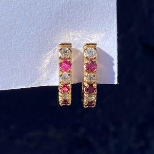 Effy BH 14KT ruby & diamond earrings